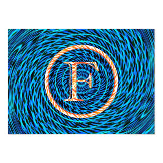 Monograma azul espiral de marea F Comunicados Personales