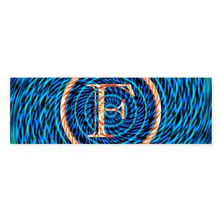 Monograma azul espiral de marea F Tarjetas De Visita Mini