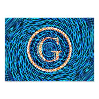 Monograma azul espiral de marea G Invitaciones Personales