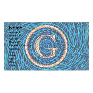 Monograma azul espiral de marea G Tarjetas De Visita