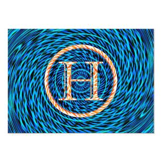Monograma azul espiral de marea H Invitacion Personal
