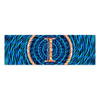 Monograma azul espiral de marea I Tarjetas De Visita Mini