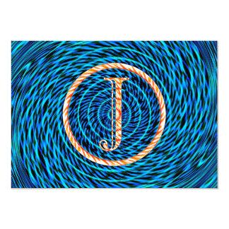 Monograma azul espiral de marea J Invitación Personalizada