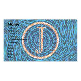 Monograma azul espiral de marea J Tarjetas De Visita