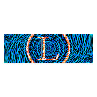 Monograma azul espiral de marea L Tarjetas De Visita Mini