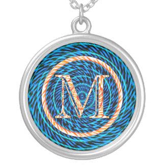 Monograma azul espiral de marea M Colgante Redondo
