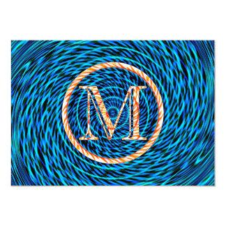 Monograma azul espiral de marea M Invitacion Personalizada