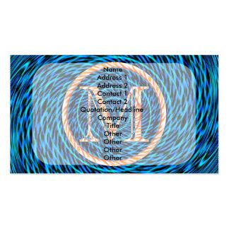 Monograma azul espiral de marea M Tarjetas De Visita