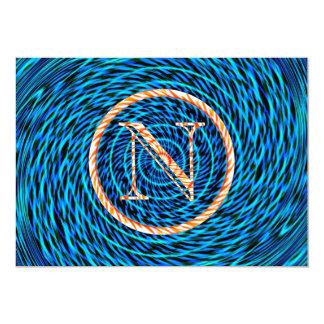 Monograma azul espiral de marea N Comunicados Personales