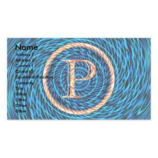 Monograma azul espiral de marea P Tarjetas De Visita