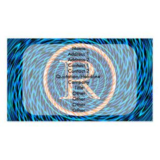 Monograma azul espiral de marea R Tarjetas De Visita