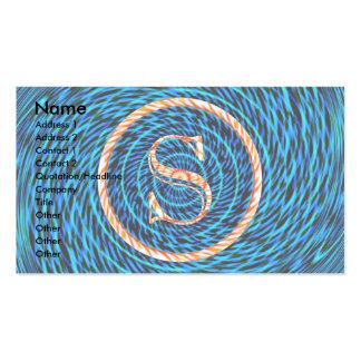 Monograma azul espiral de marea S Tarjetas De Visita