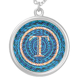 Monograma azul espiral de marea T Colgante Redondo