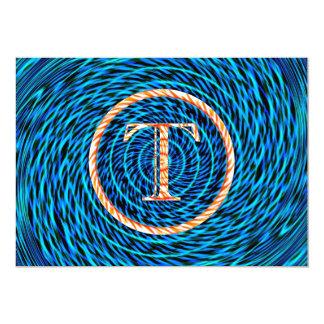 Monograma azul espiral de marea T Invitación