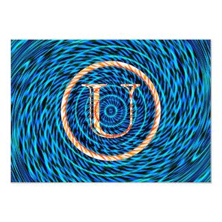 Monograma azul espiral de marea U Invitacion Personalizada
