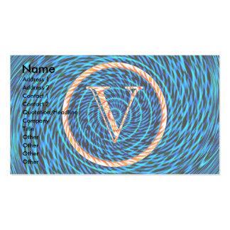 Monograma azul espiral de marea V Tarjetas De Visita