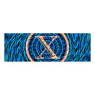 Monograma azul espiral de marea X Tarjetas De Visita Mini