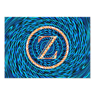 Monograma azul espiral de marea Z Comunicado Personalizado