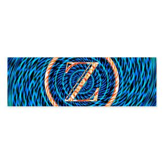 Monograma azul espiral de marea Z Tarjetas De Visita Mini