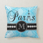 Monograma azul femenino de París del negro del dam Almohadas