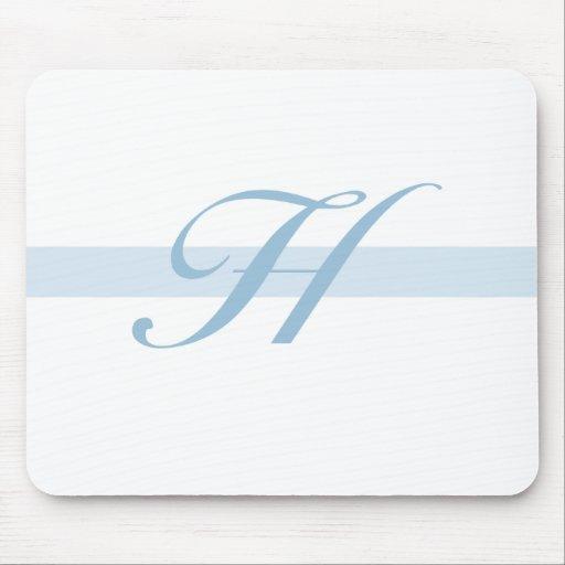 Monograma azul H Alfombrillas De Ratón