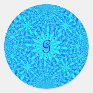 Monograma azul helado G del fractal Pegatina Redonda