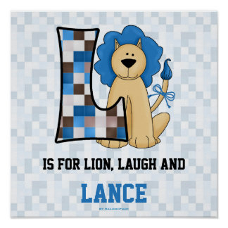"""Monograma azul """"L"""" poster del león del sitio del b"""