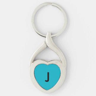 Monograma azul llavero plateado en forma de corazón