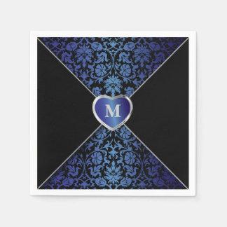 Monograma azul marino y negro elegante del damasco servilletas de papel