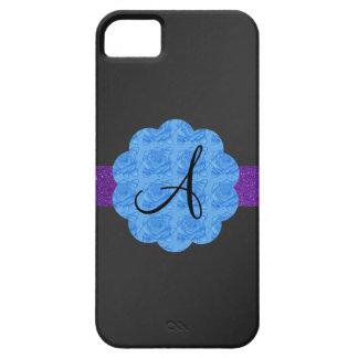 Monograma azul negro de los rosas iPhone 5 Case-Mate cárcasas