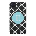 Monograma azul negro de Quatrefoil Case-Mate iPhone 4 Cárcasa