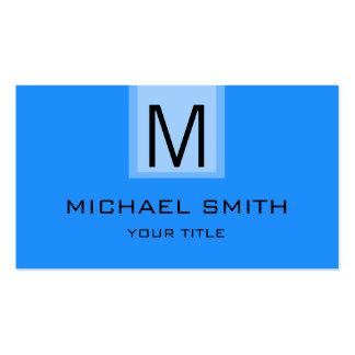 Monograma azul profesional del color sólido de tarjetas de visita