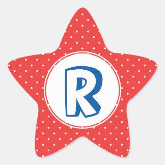 Monograma azul rojo del niño del lunar del super pegatina en forma de estrella