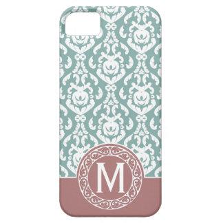 Monograma azul rosado del damasco funda para iPhone SE/5/5s