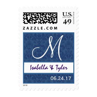 Monograma azul y blanco B707 del damasco del boda Sellos Postales