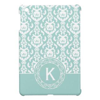 Monograma azul y blanco del damasco iPad mini coberturas