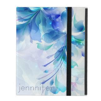 Monograma azul y blanco del fondo floral abstracto