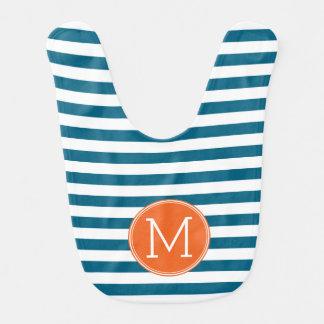 Monograma azul y blanco del naranja del modelo babero para bebé