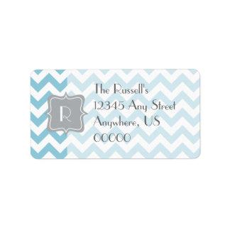 Monograma azul y blanco del zigzag etiqueta de dirección