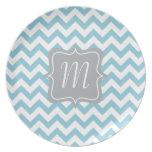 Monograma azul y blanco del zigzag platos
