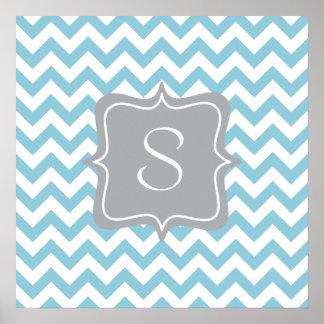 Monograma azul y blanco del zigzag póster