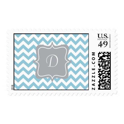 Monograma azul y blanco del zigzag sello postal