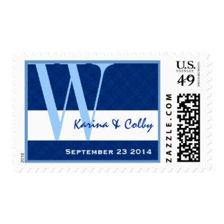 Monograma azul y blanco W R782 del boda Estampillas