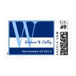 Monograma azul y blanco W R782 del boda Franqueo