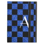Monograma azul y brillo negro a cuadros