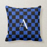 Monograma azul y brillo negro a cuadros almohadas