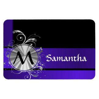 Monograma azul y de plata púrpura iman de vinilo