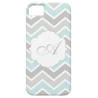 Monograma azul y gris de Chevron del zigzag iPhone 5 Cárcasa