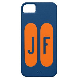 Monograma azul y naranja de plantilla de iPhone 5 carcasas