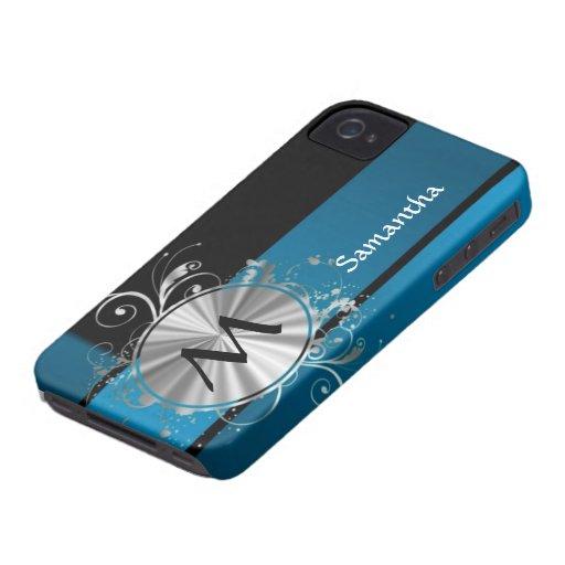 Monograma azul y negro del trullo Case-Mate iPhone 4 protectores